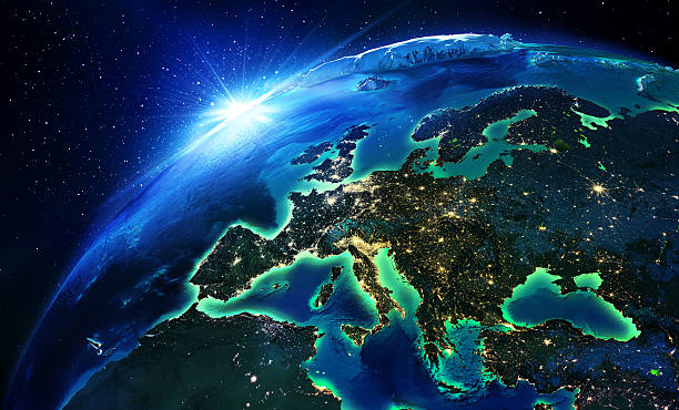 land area in europe the night - europe map stock photos and pictures