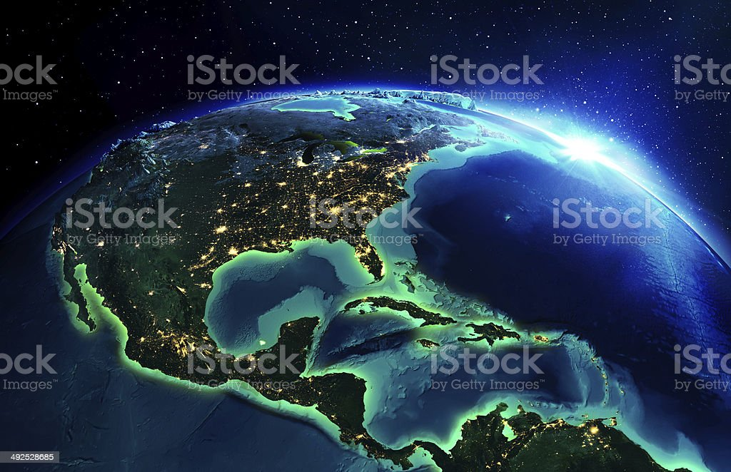 land area in North America the night stock photo