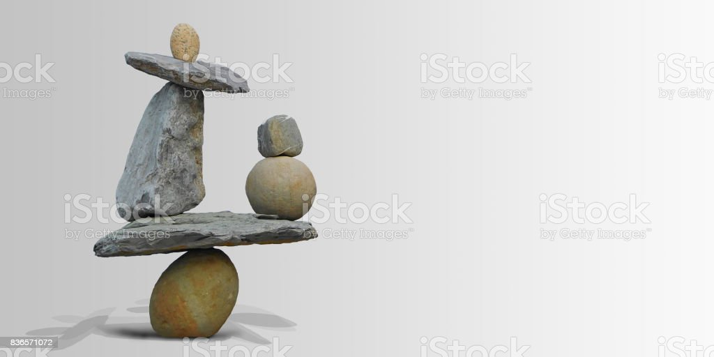 Land art in balancing stones. stock photo