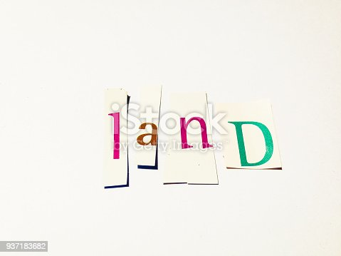 812461124istockphoto Land - Cutout Words Collage Of Mixed Magazine Letters with White Background 937183682