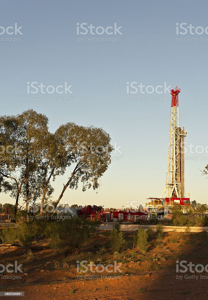 Land Drilling Rig at Sunset royalty-free stock photo