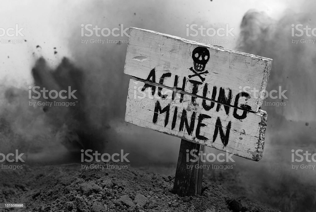Land Mines Ahead stock photo