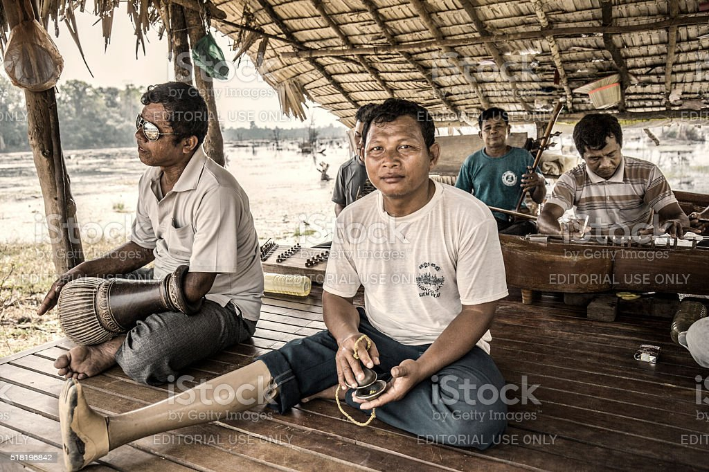 Land mines victims in Agkor Cambodia stock photo