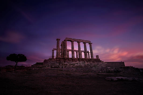 Land of the Gods Poseidon Temple in Cape Sounio sunset ancient greece stock pictures, royalty-free photos & images