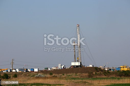 land oil and gas drilling rig in oilfield industry
