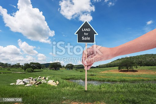 istock Land plot for housing construction project with in rural area and beautiful blue sky with fresh air Land for sales landscape concept. 1256697335