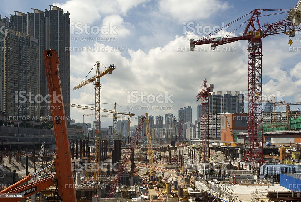 Land reclamation and construction work in Hong Kong stock photo