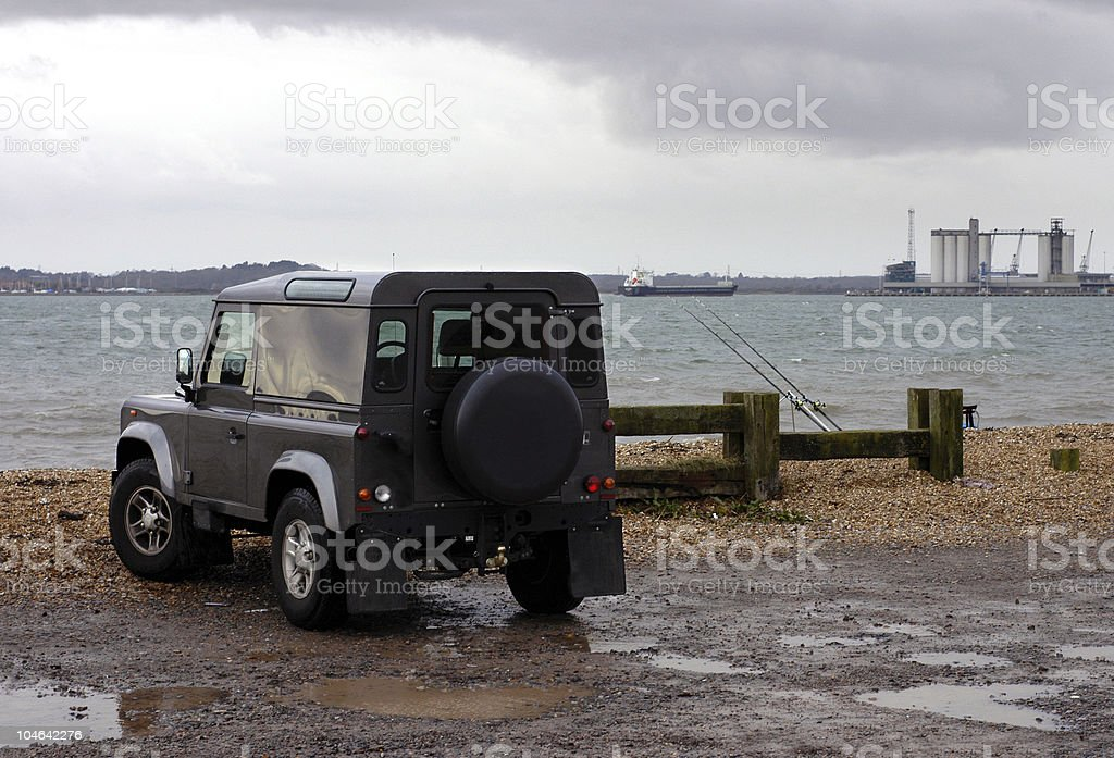 Land Rover by bay royalty-free stock photo