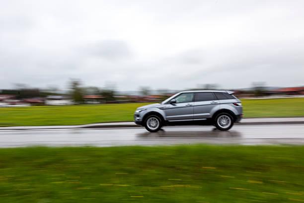 Land Rover Evoque panning stock photo