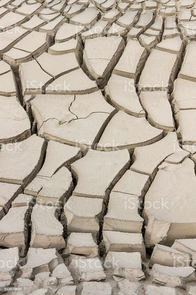 land sand soil deep cracks drought no water no plants stock photo
