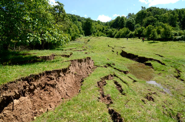 Land slides on the hill Land slides after heavy rain in mountain area eroded stock pictures, royalty-free photos & images