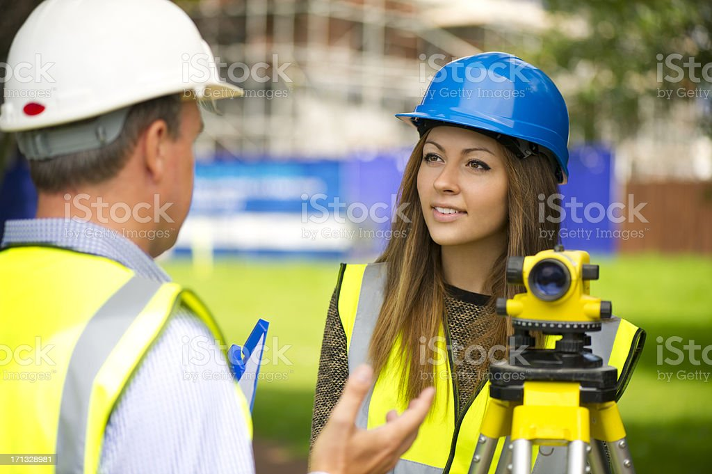 land survey trainee stock photo