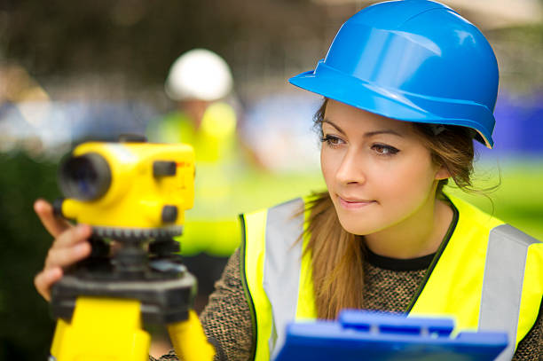 land survey trainee - civil engineer stock photos and pictures