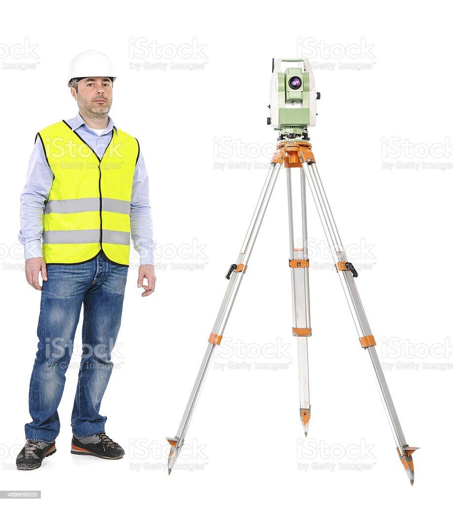 land surveyor in studio shoot royalty-free stock photo