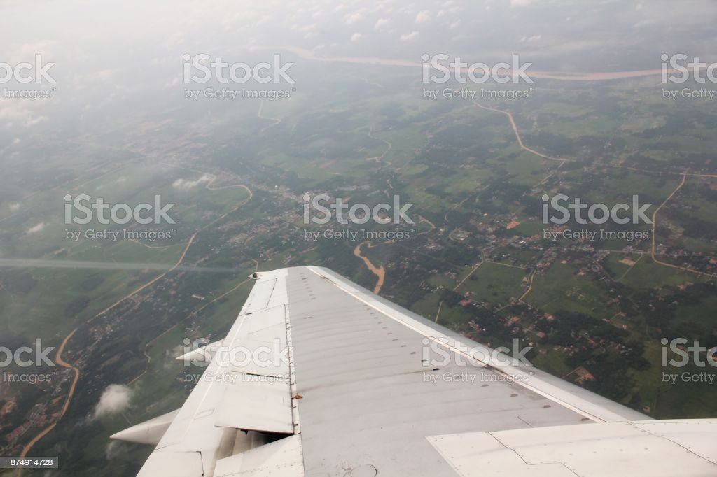 land view from a airplane window stock photo