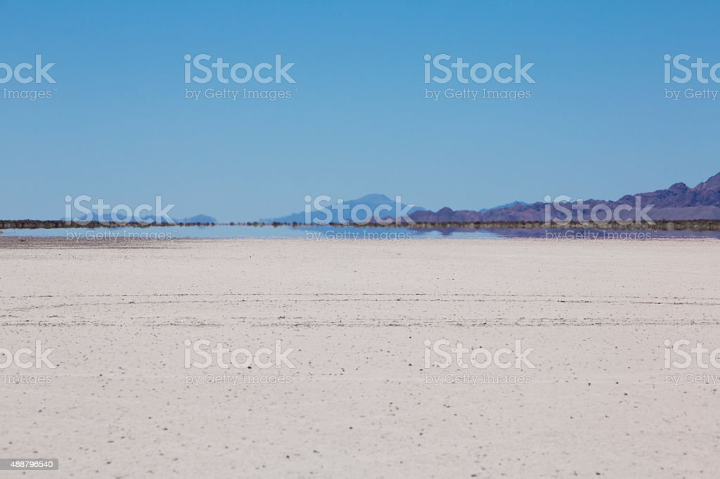 Land with dry and cracked ground. Pampa of El Leoncito stock photo
