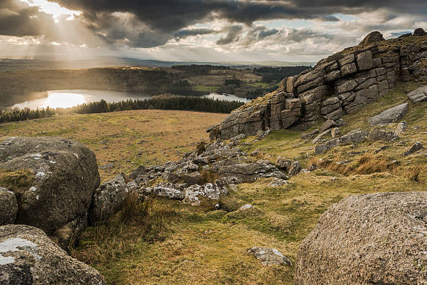 landcape panoramic view from summit, dramatic sky over lake. - outcrop stock pictures, royalty-free photos & images