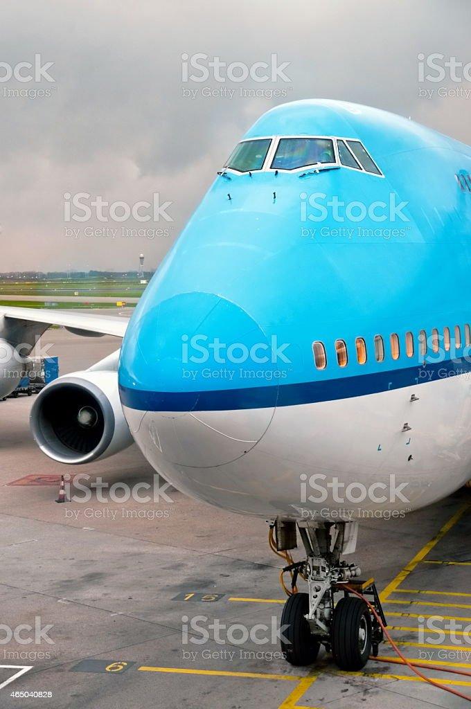 Landed aircraft stock photo