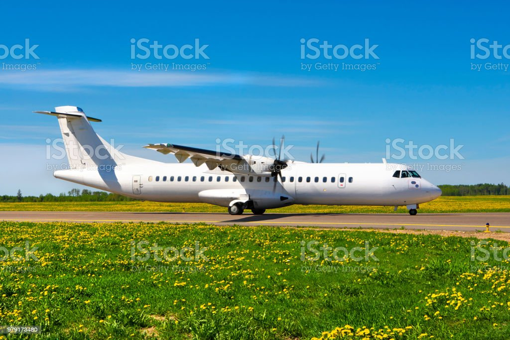 Landed airplane. stock photo