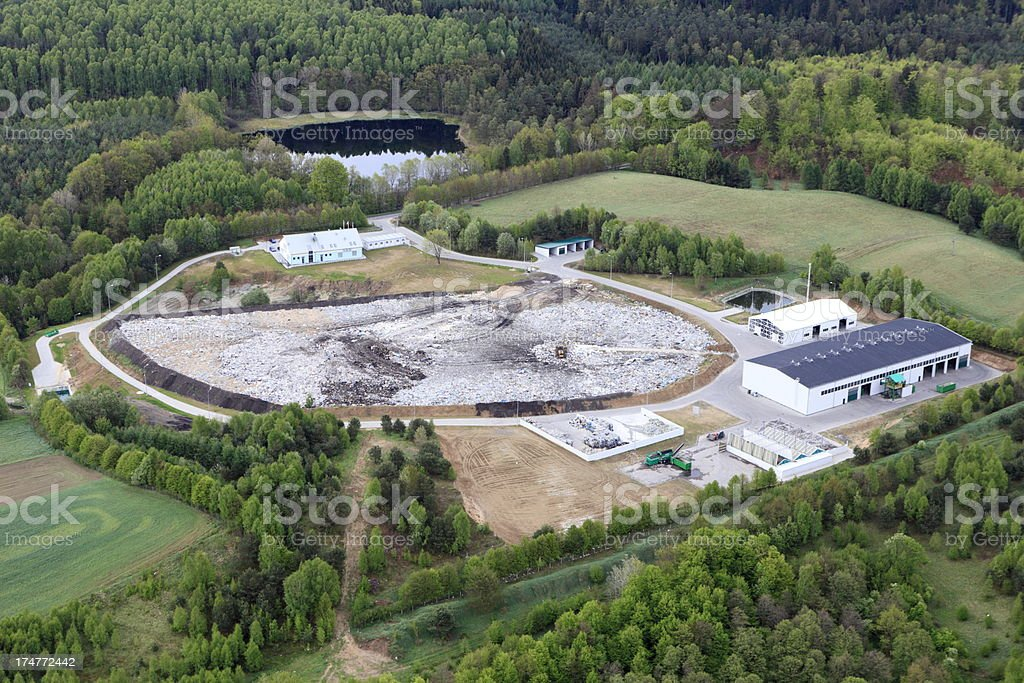 Landfill: aerial view royalty-free stock photo