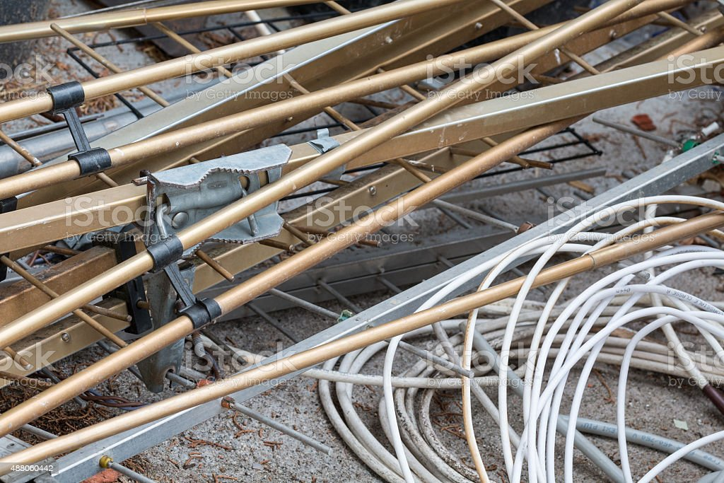 Landfill - copper wires and metal stock photo