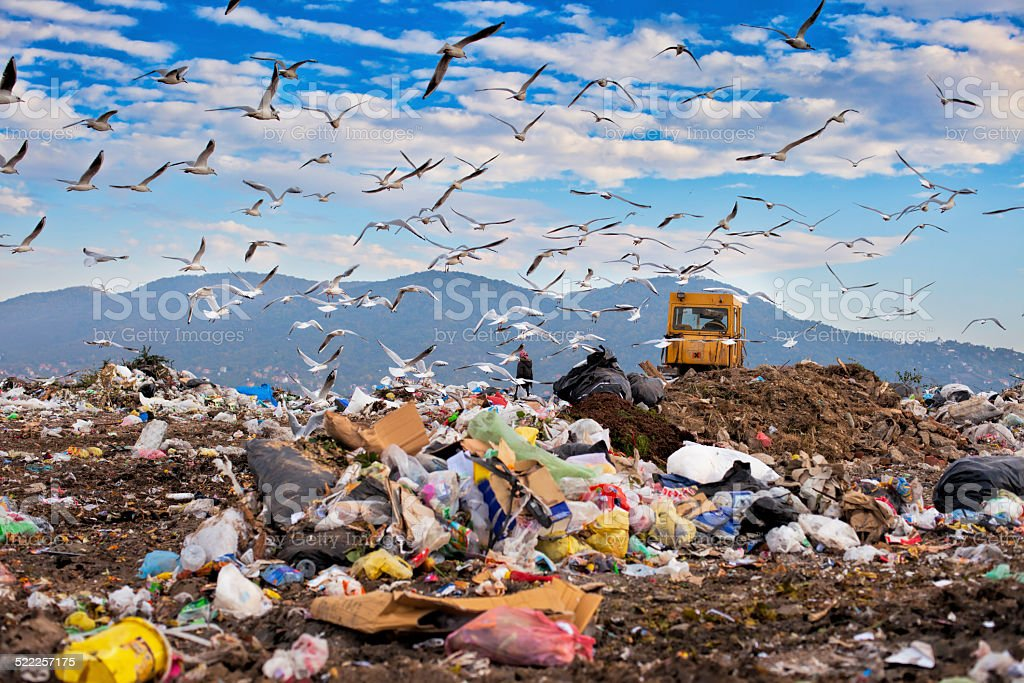 Landfill garbage waste dumped in the rubbish dump site stock photo