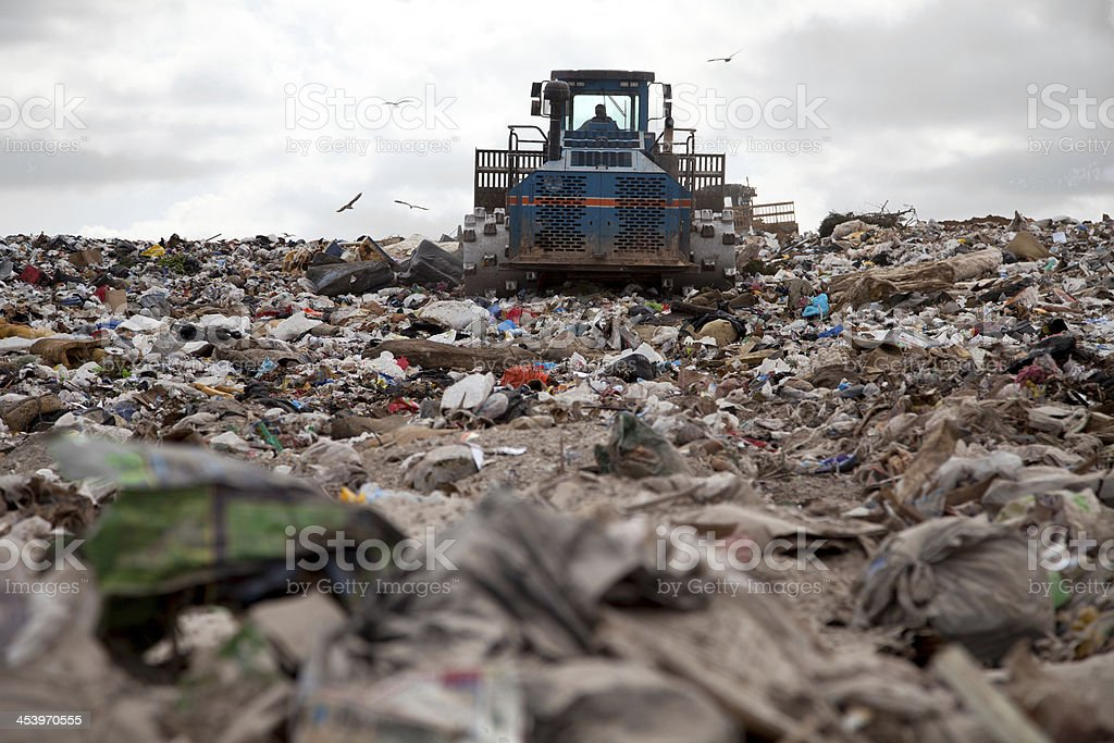 Landfill truck stock photo