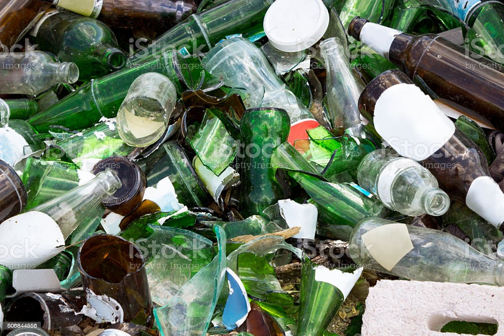 landfills glass,  recycling stock photo