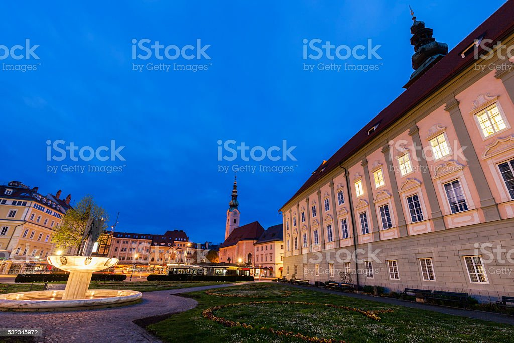 Landhaus and Heiligengeistkirche on Kiki-Kogelnik-Platz in Klagenfurt stock photo