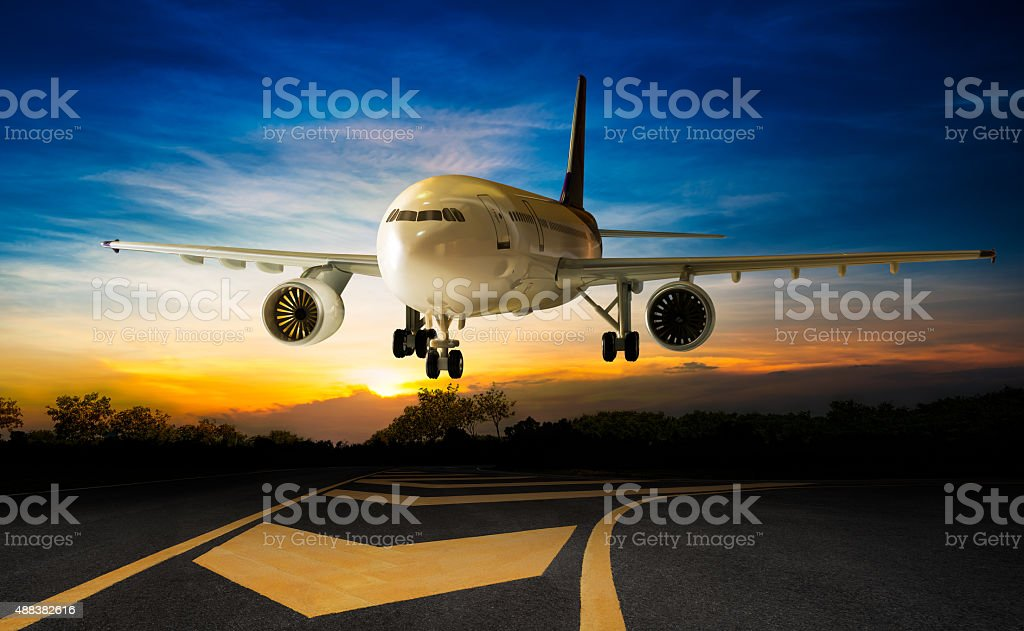 Landing aeroplane stock photo