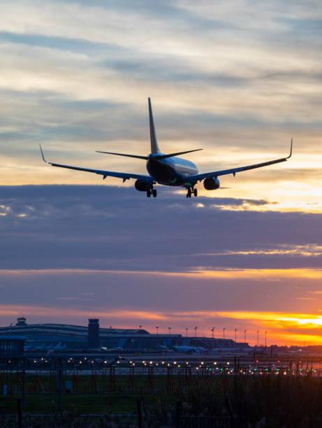 Landing airplane during sunset - Barcelona