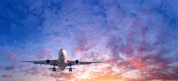 Landing airplane. Landscape with passenger airplane is flying in the blue sky with red, purple and orange clouds at sunset. Travel background. Passenger airliner. Commercial aircraft. Private jet stock photo
