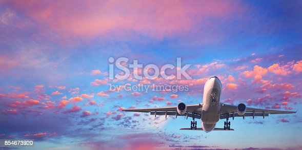816320512 istock photo Landing airplane. Landscape with white passenger airplane is flying in the blue sky with pink clouds at sunset. Travel background. Passenger airliner. Business trip. Commercial aircraft. Private jet 854673920