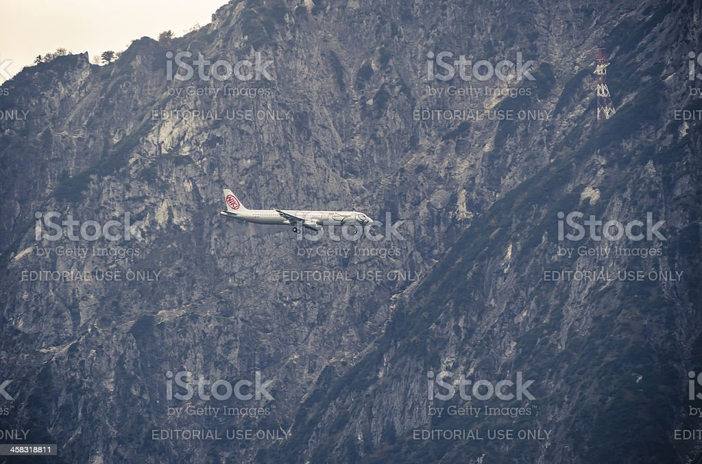 landing airplane royalty-free stock photo