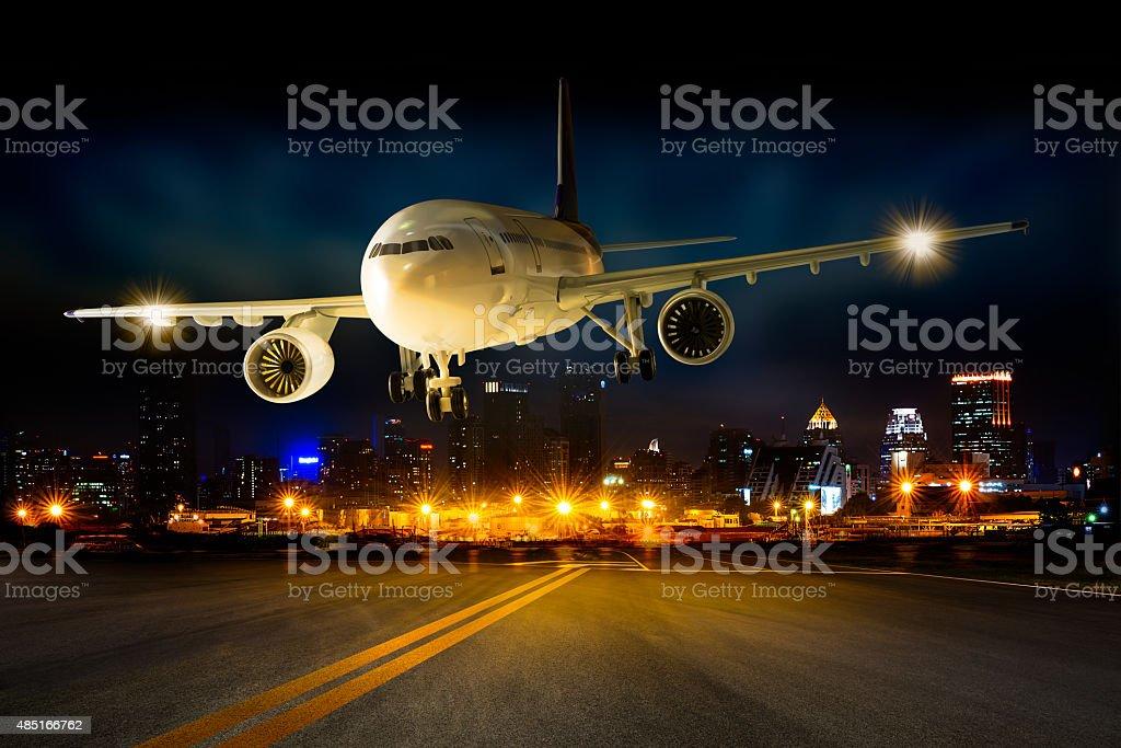 Landing avión - foto de stock