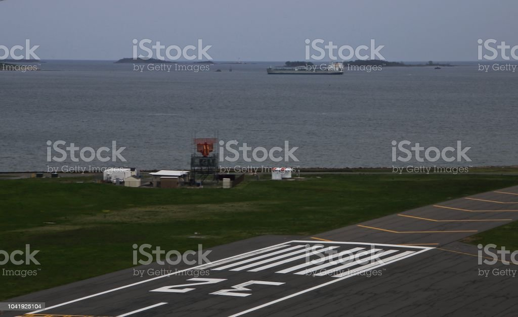 Landing at Boston International Airport stock photo