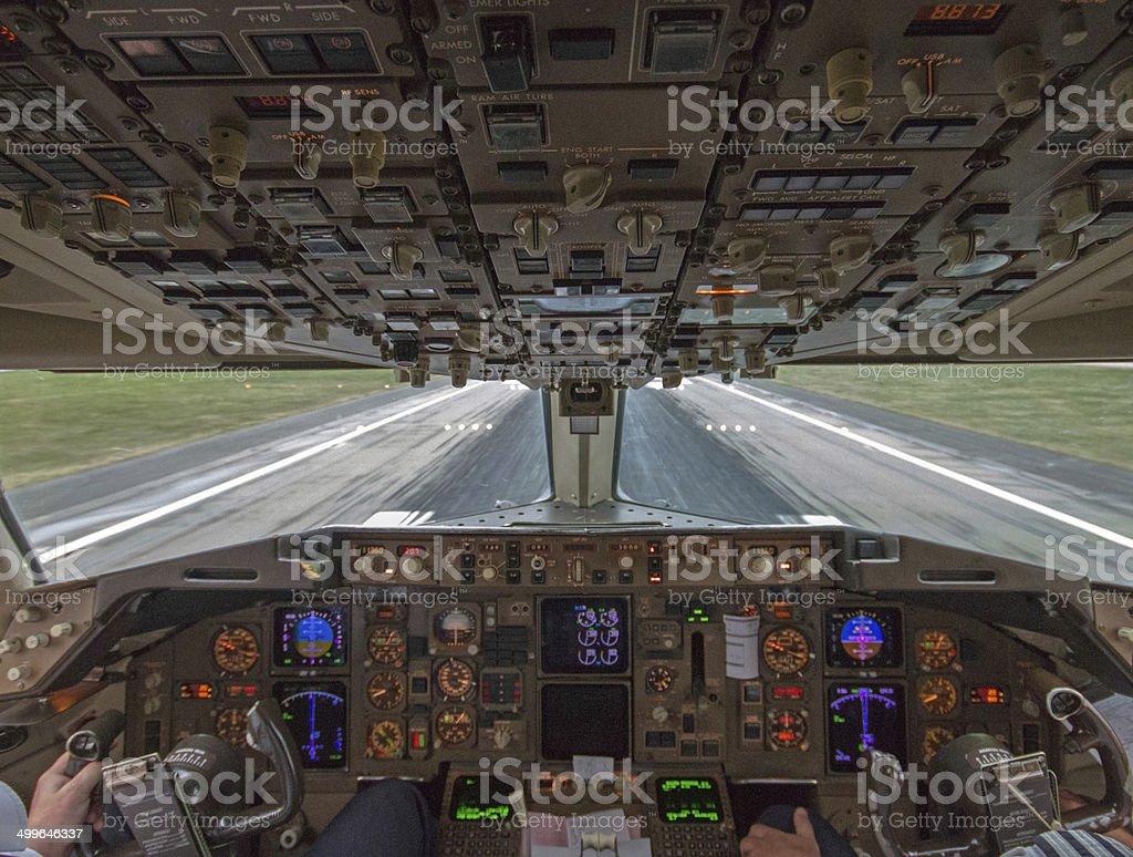 Landing at Heathrow in 767 stock photo