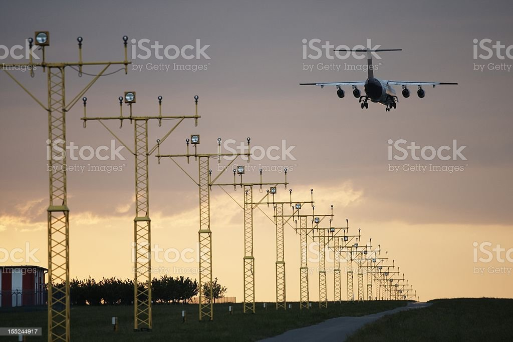 Landing at sunset royalty-free stock photo