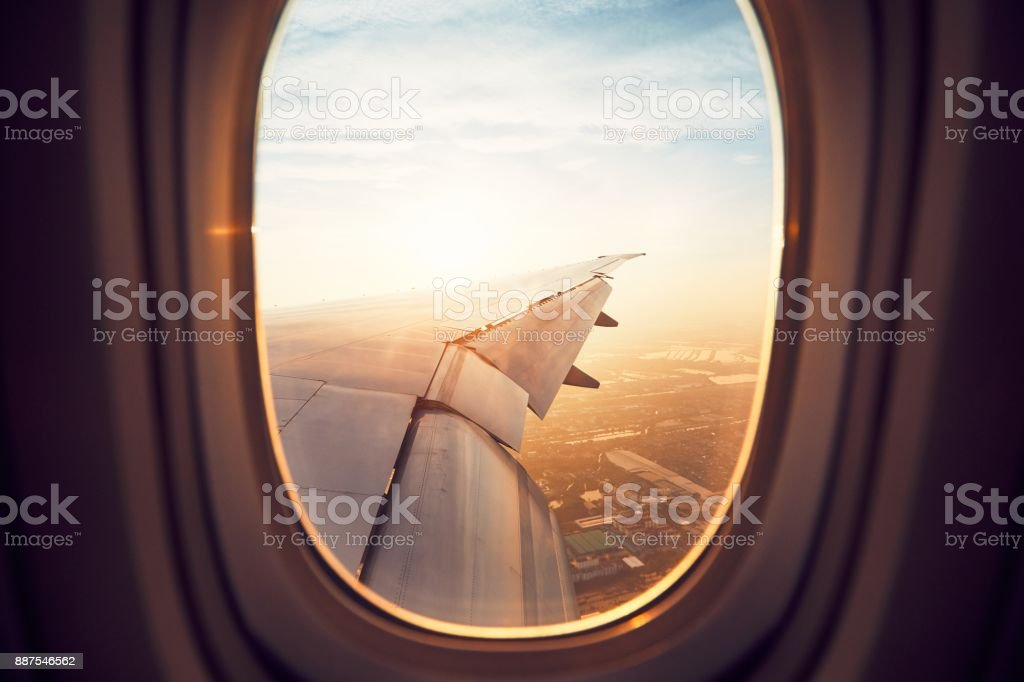 Landing at the sunrise stock photo