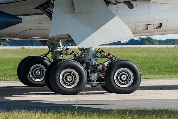Landing gear of Airbus A350 - foto stock