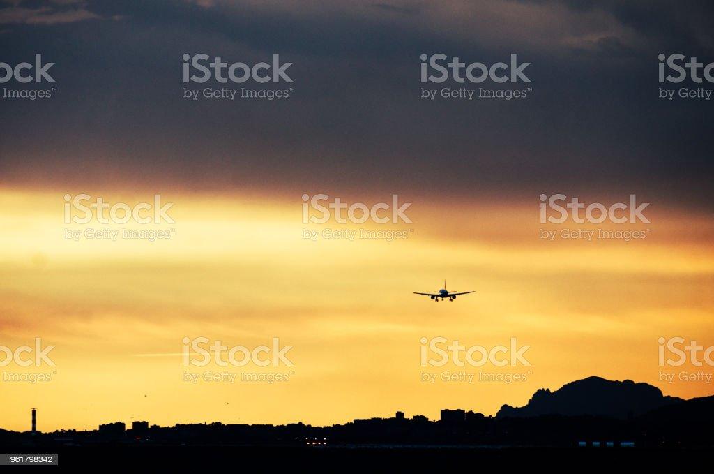 Landing in airport stock photo