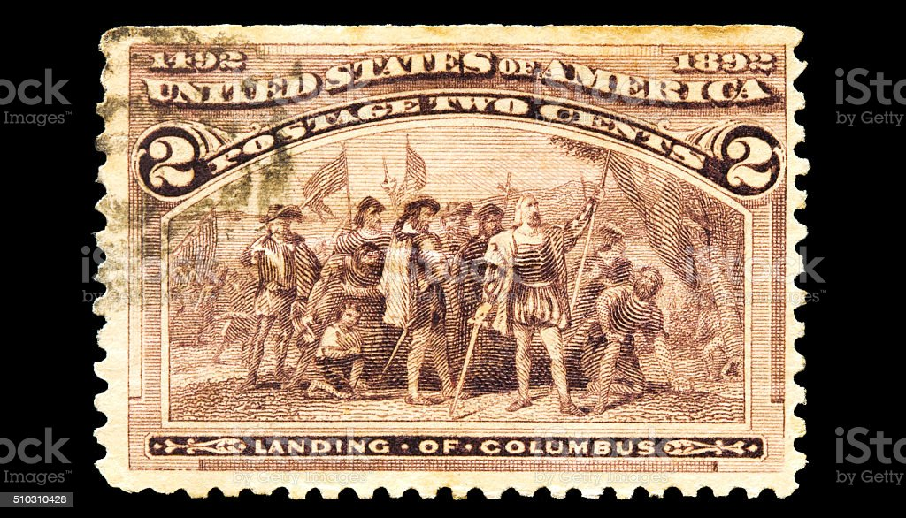 Landing of Columbus in the Americas Postal Stamp stock photo