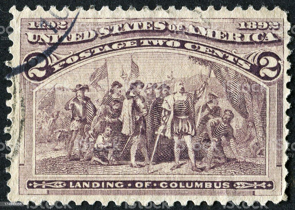 Landing Of Columbus Stamp stock photo