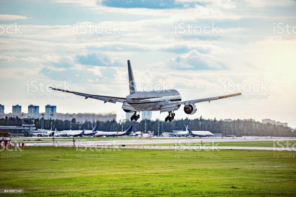 Landing of the passenger plane. stock photo
