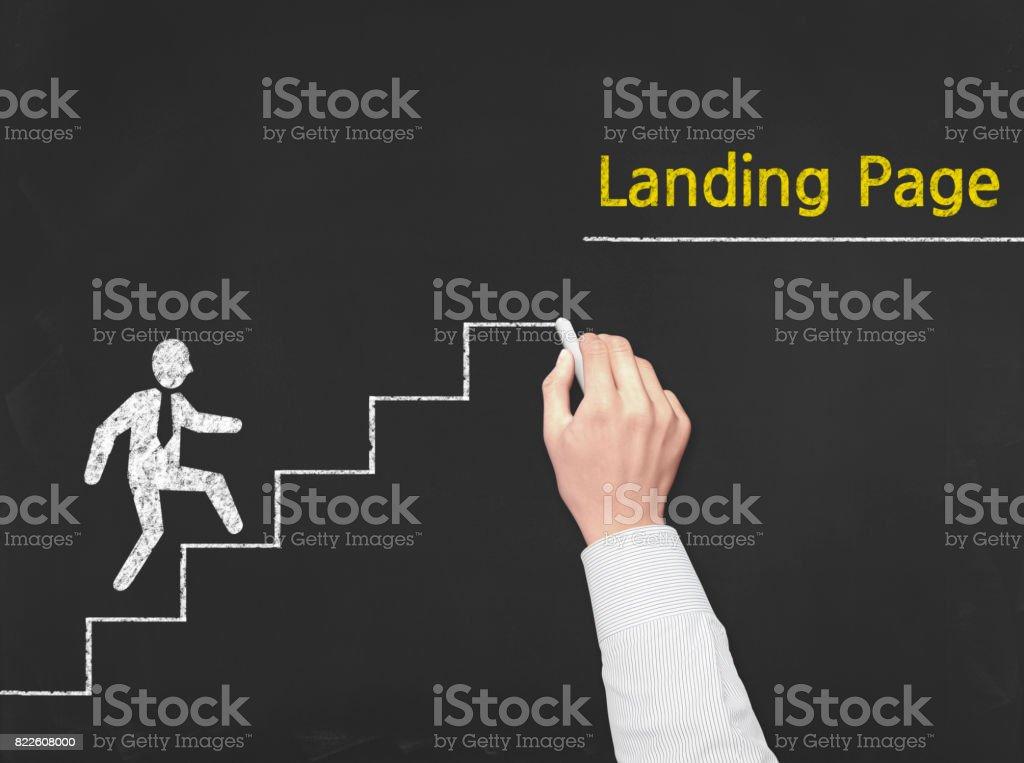 Landing Page - Business Chalkboard Background stock photo