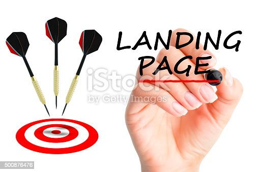 istock Landing page concept with darts arrows and a target 500876476