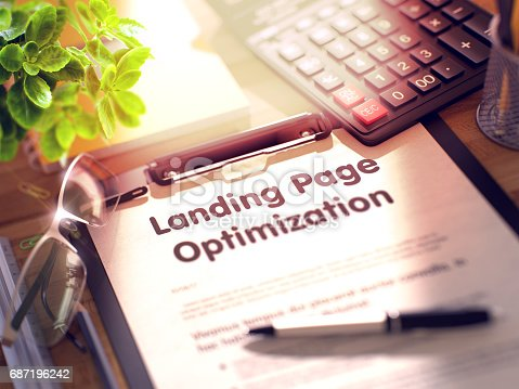 istock Landing Page Optimization Concept on Clipboard. 3D 687196242