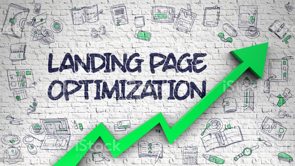 Landing Page Optimization Drawn on White Brick Wall. 3D stock photo