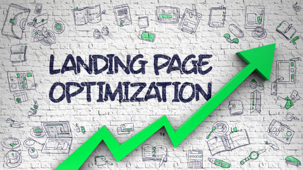 Landing Page Optimization Drawn on White Brick Wall. 3D - foto stock