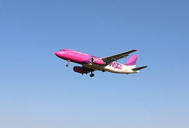 Landing phase of commercial airplane stock photo